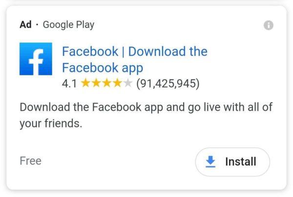 تبلیغات نصب اپ در نتیج جستجوی گوگل
